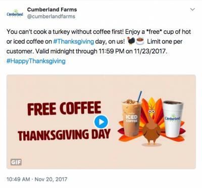 Free hot or iced coffee - Cumberland Farms