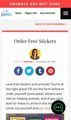 PETA Animal - Free Stickers