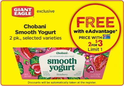 Free Chobani Smooth Yogurt at Giant Eagle