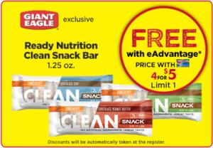 Free Ready Nutrition Clean Snack Bar at Giant Eagle
