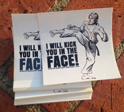 """Free """"I Will Kick You in the Face"""" Sticker"""