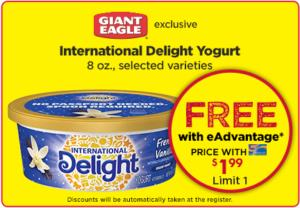 Free International Delight Yogurt at Giant Eagle