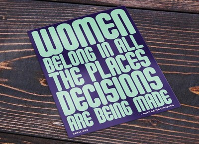 Women Belong in All The Places Decisions are Being Made Sticker for Free