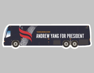 Andrew Yang Tour Bus Sticker for Free