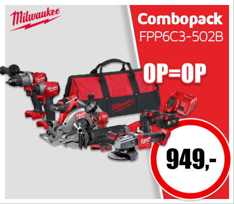 Milwaukee M18 FPP6C3-502B combopack 18V Li-ion
