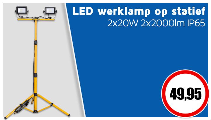 2x20W Mobile LED werklamp op statief