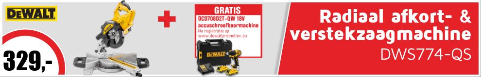 DeWALT DWS774-QS radiaal afkort- & verstekzaagmachine