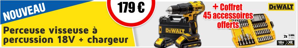 Perceuse visseuse à percussion DeWalt DCD778L2T + Coffret 45 pièces 18V XR 3Ah 179€