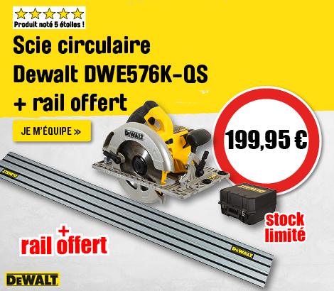 Scie circulaire DeWALT DWE576K-QS + rail 1600W Ø190mm