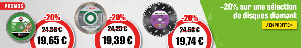 20% de reduction sur disques diamants