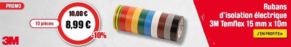 Rubans d'isolation électrique 3M Temflex 15mm x 10m Lot