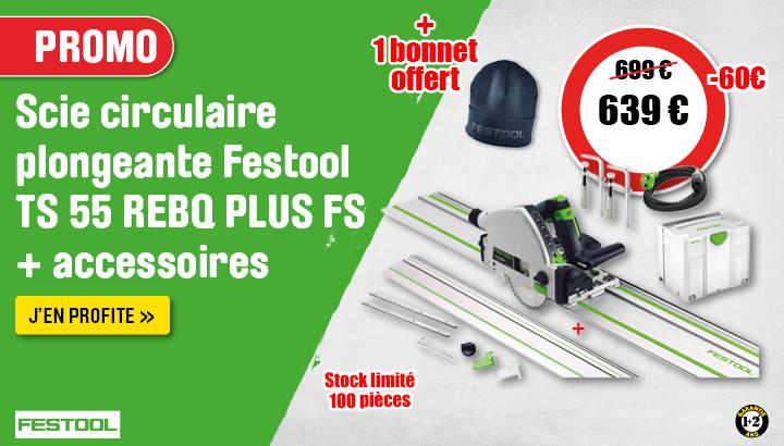 Scie circulaire plongeante Festool TS 55 REBQ PLUS FS + Accessoires 1200W Ø160mm