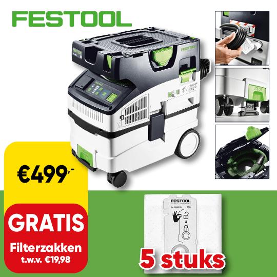 Promo_540x540 | Cat 73 P8 - Festool nat droog zuiger gratis filterzakken D019