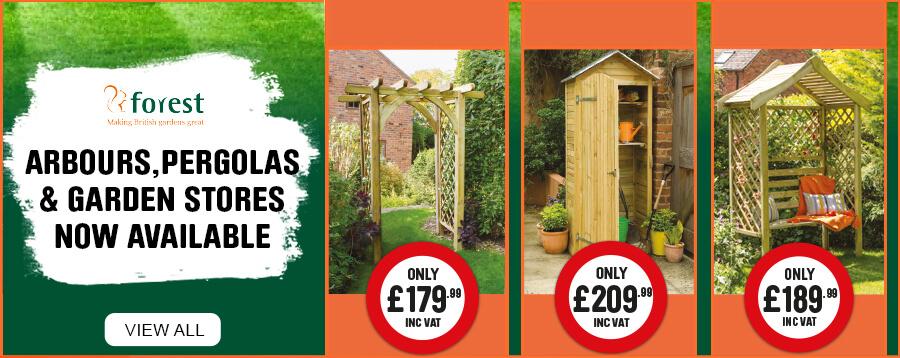 Arbours, Pergolas & Garden stores now available