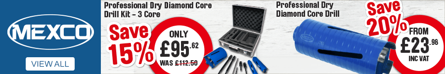 Mexco. Professional Dry Diamond Core Drill Kit - 3 Core, Save 15%, Only £95.62