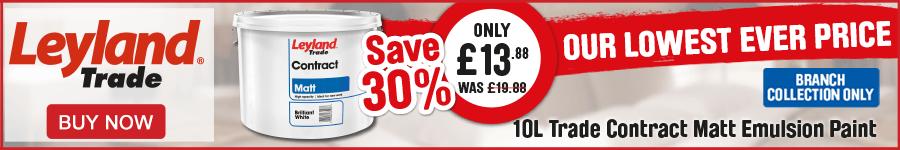 Save 30% on Leyland 10L Trade Contract Matt Emulsion Paint