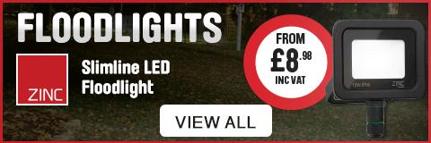 Floodlights. Zinc Slimline LED Floodlight from £8.98