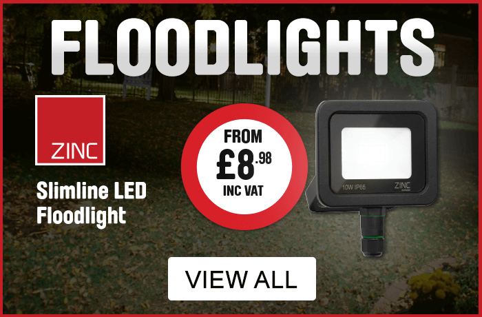 Floodlights. Zinc Slimline LED floodlight from £8.98