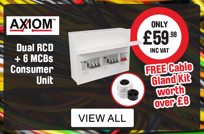 Axoim. Dual RCD + 6 MCB's Consumer Unit, includes free cable gland kit worth over £8.  View all Axoim consumer units