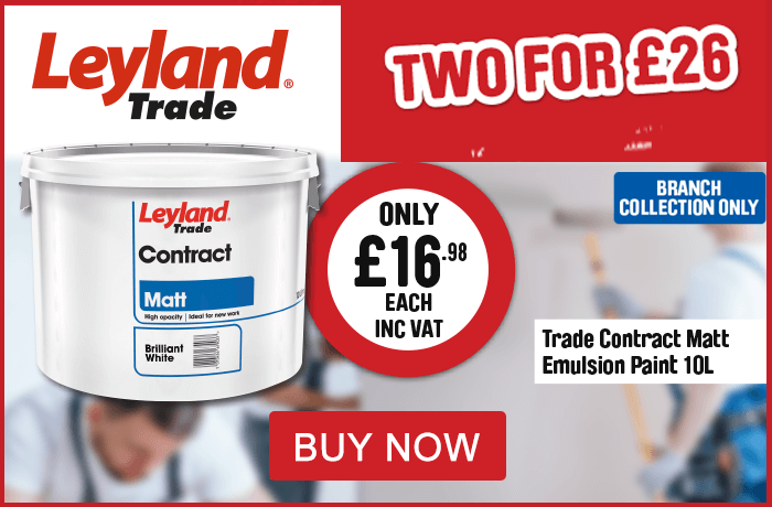 Leyland Trade. Trade contract matt emulsion paint 10L 2 for £26. View all