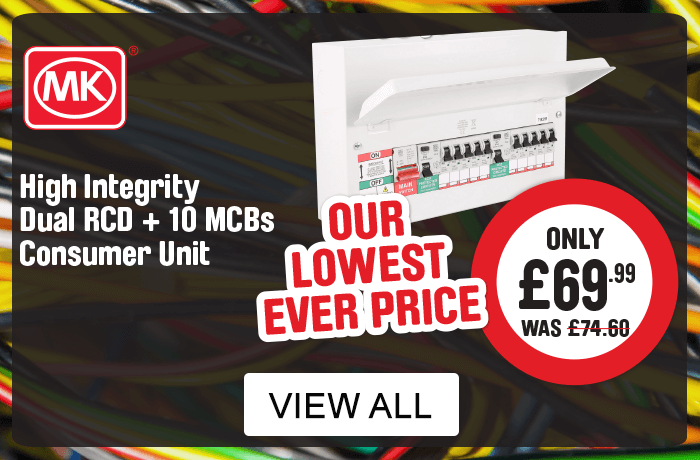 MK Consumer Units. High Integrity Dual RCD + 10 MCBs Consumer Units  - Our lowest ever price. View all MK consumer units