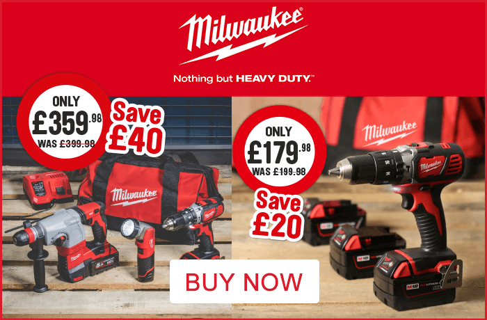 Milwaukee 18V Li-Ion Cordless Compact Combi Drill just £179.98 was £199.98 save £20. Milwaukee 18V Li-Ion cordless combi drill, SDS Hammer Drill & M12 LED Torch Kit only £359.98 was £399.98 save £40. Buy Now