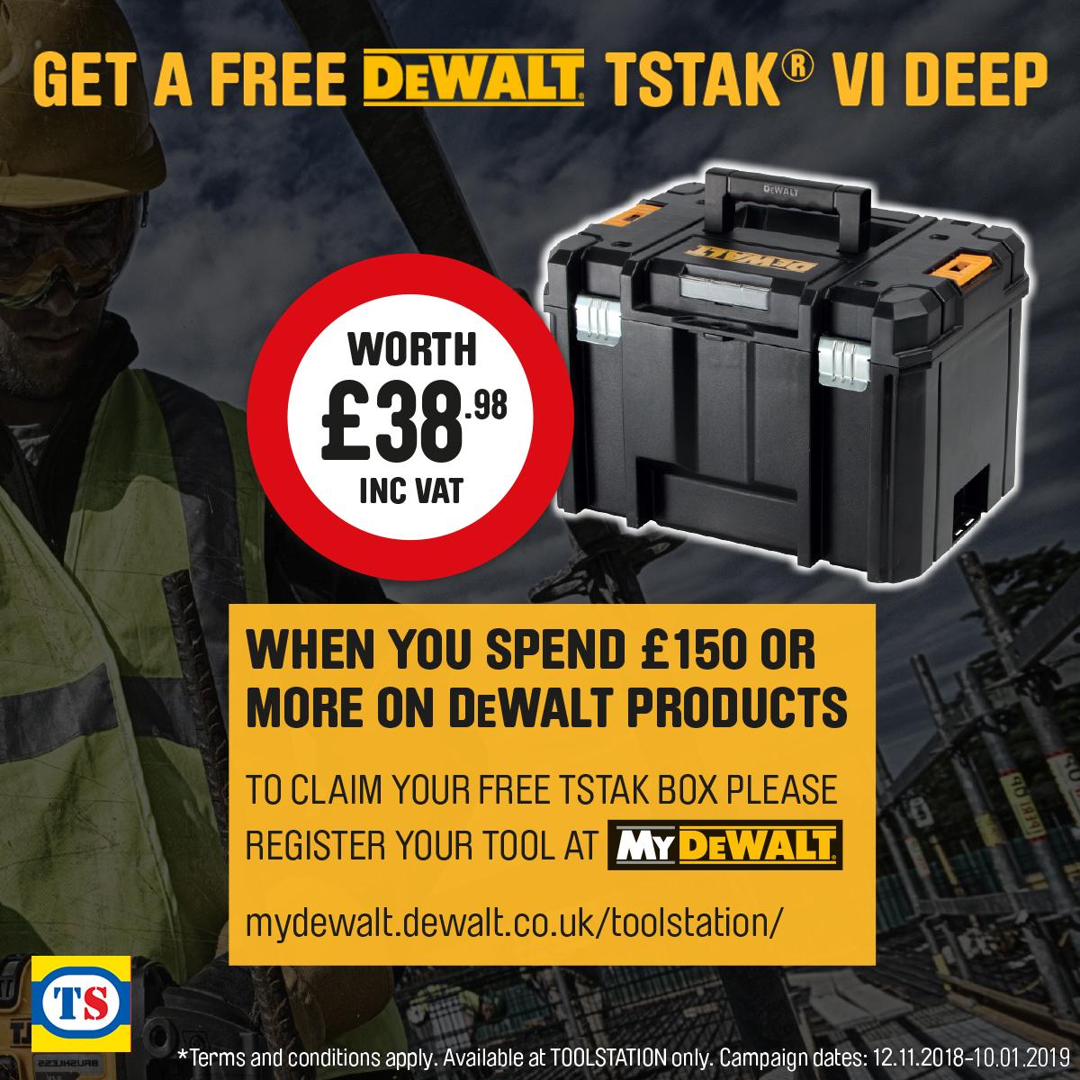 Free DeWALT TSTAK VI Deep when you spend £150 or more on DeWALT Products