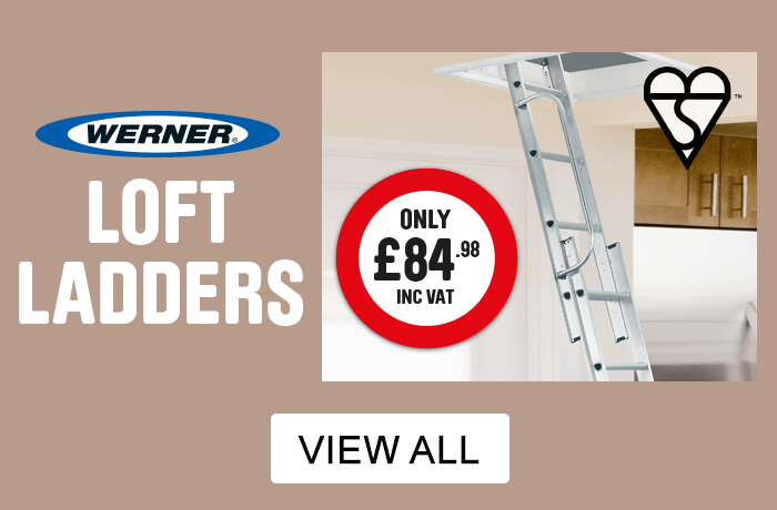 Loft Ladders. Werner only £84.98 with Handrail for added safety, Slip-resistant D rungs for comfort and security. View All