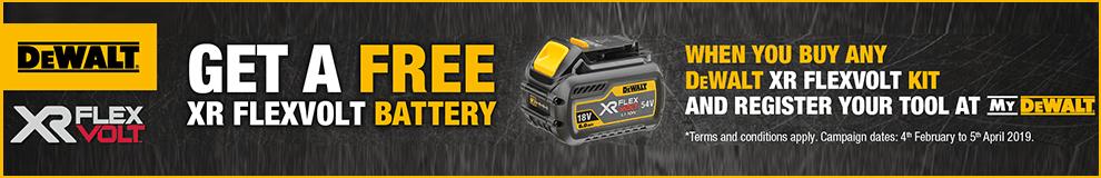 DeWalt flexvault - free battery when you register your new product