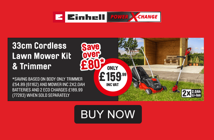 Einhell Multi Buy. 33cm Cordless Lawnmower Kit and Trimer. Only £159.99. Save over £80. Buy Now