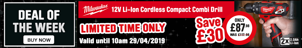 Save £30 on this Milwaukee 12V Li-Ion Cordless Compact Combi Drill - Limited time only