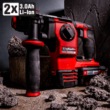 Einhell - TPower X-Change 18V Herocco SDS+ Brushless Hammer Drill 2 x 3.0Ah