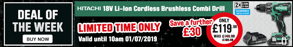 Save a further £30 on this Hitachi 18V li-ion cordless brushless combi drill - Limited Time Only