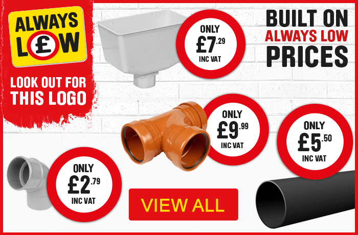 Plumbing always low prices - view all