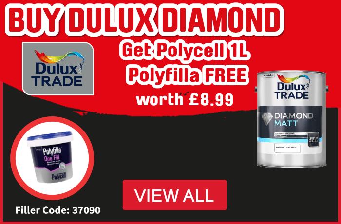 Buy Dulux Diamond Matt Emulsion Get Polycell 1L Polyfilla Free. View All