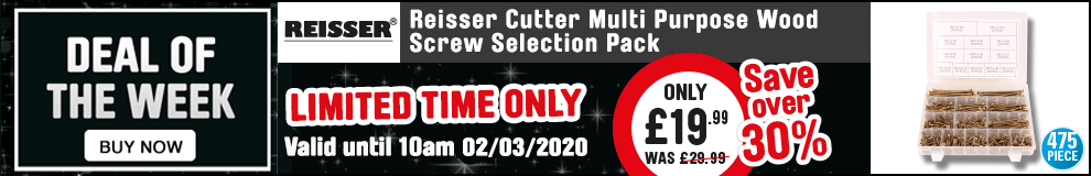 Save over 30% on these Ressier Cutter Multi purpose wood screw selection pack - Offer Ends 10am 03/03/2020