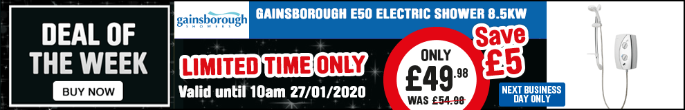Save £5 on this Gainsborough E50 8.5kW Electric Shower - Offer Ends 10am 27/01/2020