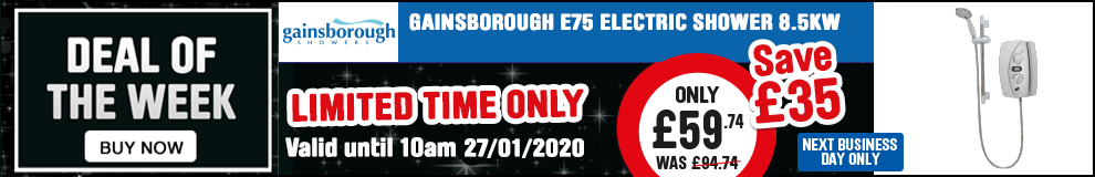 Save £35 on this Gainsborough E75 8.5kW Electric Shower - Offer Ends 10am 27/01/2020