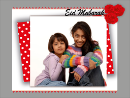 Eid Card - Red with White Dots
