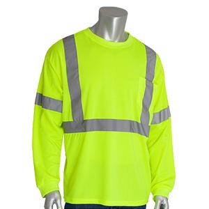 PIP® ANSI Type R Class 3 Long Sleeve T-Shirt Yellow- Large