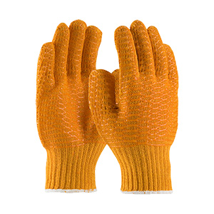 Seamless Knit Polyester Glove with Double-sided PVC Honeycomb Criss-Cross Grip- Large