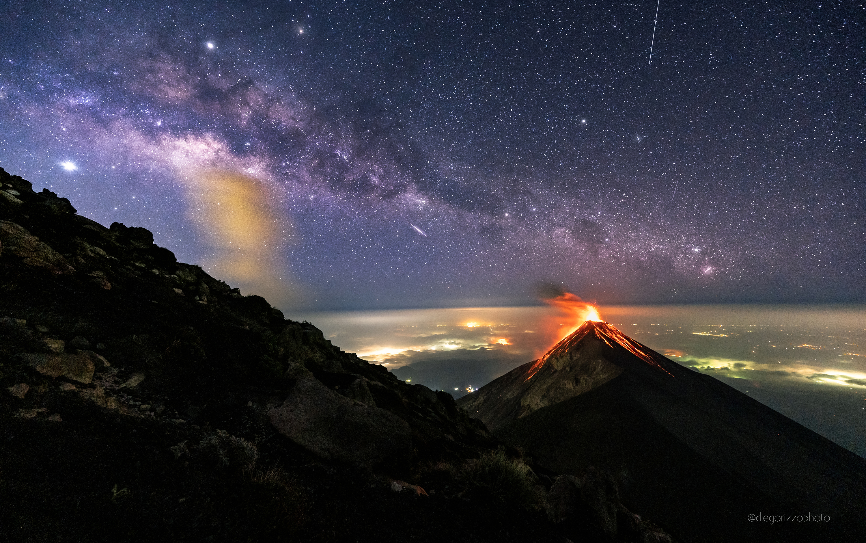 Volcano of Fire with Milky Way