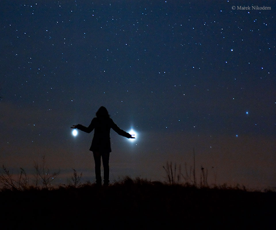 Jupiter and Venus from Earth