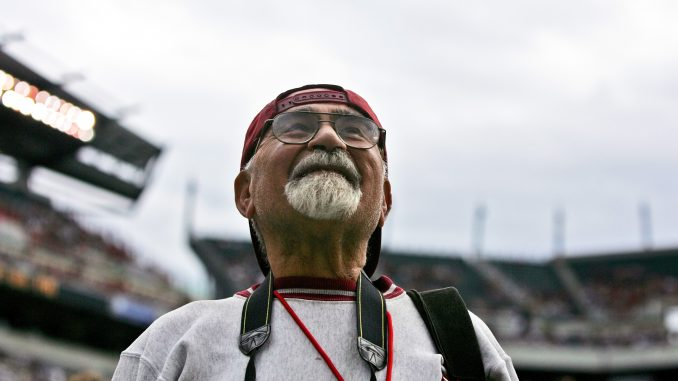 """Zohrab """"Zorro"""" Kazanjian watches Temple's football team play Penn State on Sept. 17, 2011 at Lincoln Financial Field. Zorro, a former university photographer, died last month at 81 years old. 
