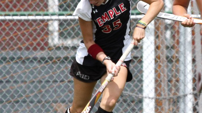 Katie Briglia dribbles the ball during a game against Virginia on Aug. 24 at Geasey Field. ( HUA ZONG / TTN )