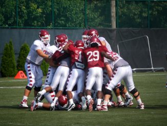 The Owls scrum during training camp practice on Aug. 13. Temple re-enters the Big East Conference this season after being kicked out of the conference in 2001 due to a lack of competitiveness. ( ANDREW THAYER / TTN )