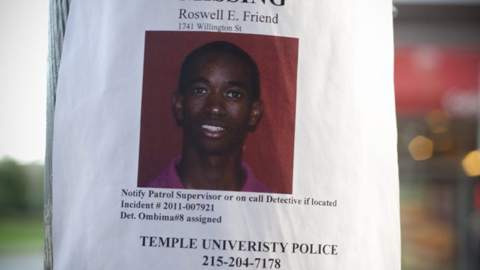 A picture of Roswell Friend was posted on Cecil B. Moore Avenue near Broad Street after he went missing in August 2011. ( ANGELO FICHERA // TTN FILE PHOTO )