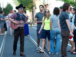 The one-man mariachi, TACO, walked up and down 12th street during the PhilaMOCA Art and Music Festival Block Party, often walking straight up to people and singing directly to them. ( CHARLOTTE JACOBSON // TTN )