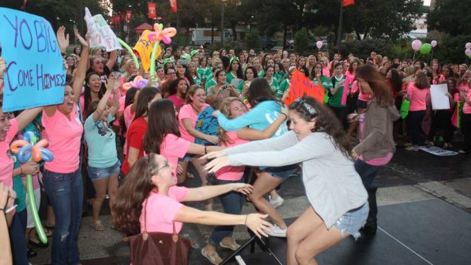 Hundreds of sorority sisters flocked to the Bell Tower earlier this month. This semester, 446 students registered for recruitment, a 100 percent increase from last fall. ( JOHN MORITZ | TTN )