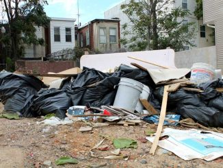 A clutter of trash from construction fills a vacant lot near Main Campus. Last week, a report was released outlining issues with Temple-area construction. ( CINDY STANSBURY   TTN )